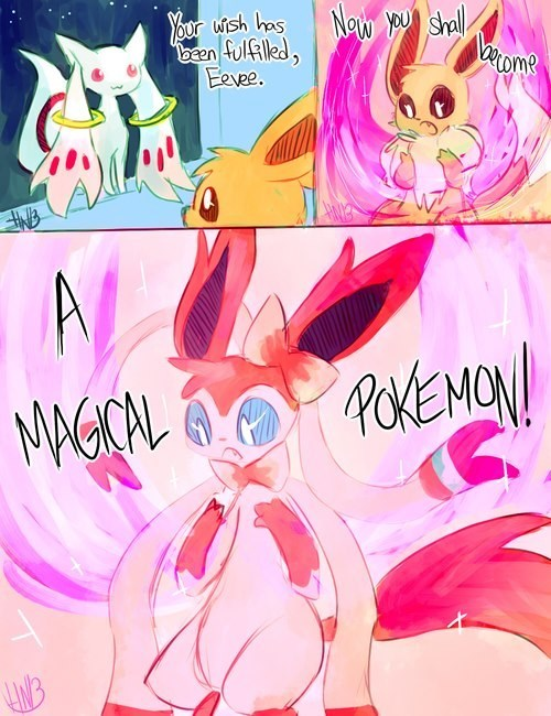 art sylveon magical kyubey - 7063045632