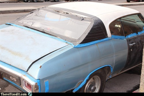 muscle car black tape blue tape duct tape tape g rated there I fixed it