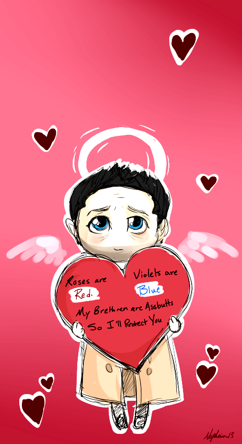 Supernatural cards castiel Valentines day - 7063893248