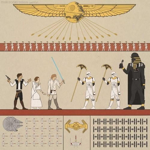 star wars hieroglyphics Fan Art luke skywalker Han Solo Princess Leia darth vader - 7063924992