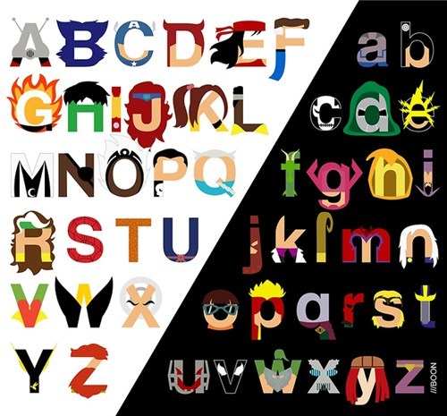 art letters alphabet superhero