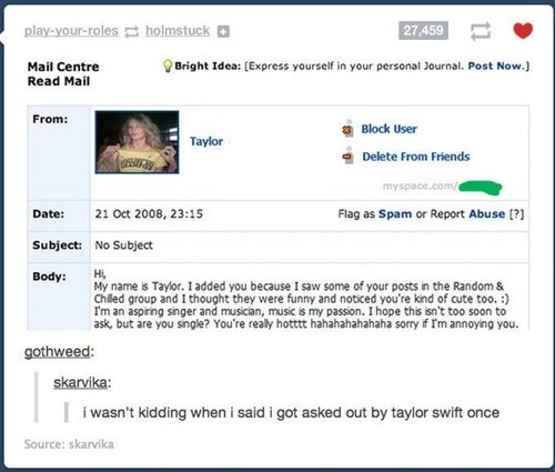 taylor swift,asked out,myspace