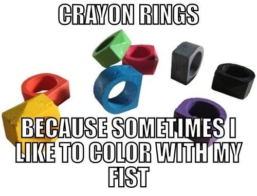 crayon rings,brass knuckles,parenting
