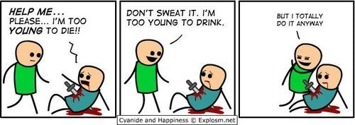 cyanide and happiness comics not helpful too young to die - 7064497920