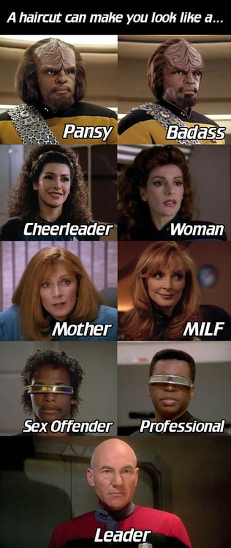 A Valuable Guide to Hair Styles, Courtesy of Star Trek:TNG