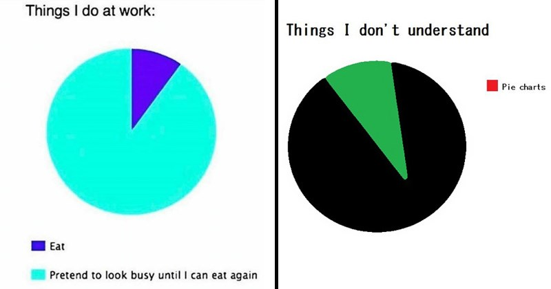 cover image for list of funny pie charts with examples of what i do at work and pie charts i don't understand