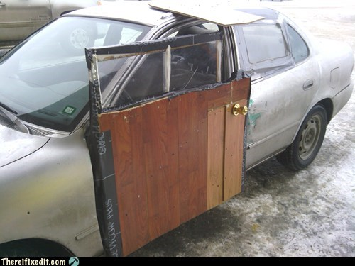 alaska,car door,woodworking,g rated,there I fixed it