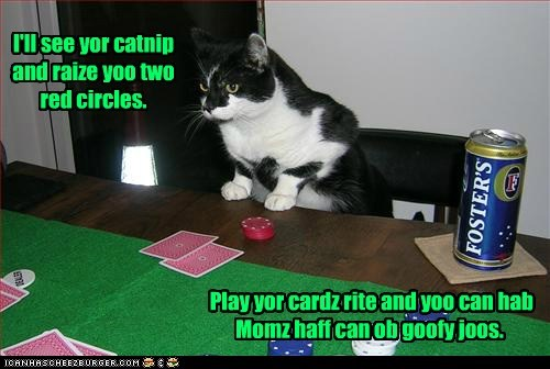 I'll see yor catnip and raize yoo two red circles. Play yor cardz rite and yoo can hab Momz haff can ob goofy joos.
