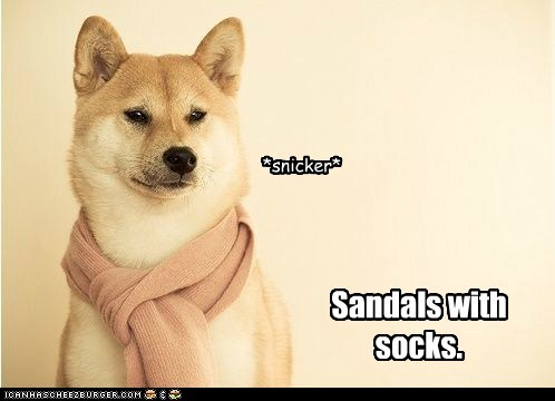 Sandals with socks. *snicker*