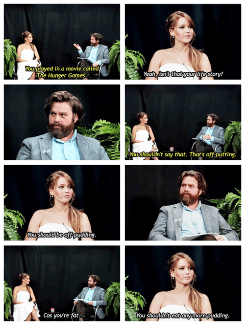 Zach Galifanakis between two ferns sick burn jennifer lawrence hunger games interview burn - 7066634240