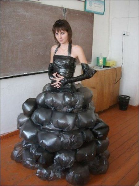 trash bags,homemade clothes,dress