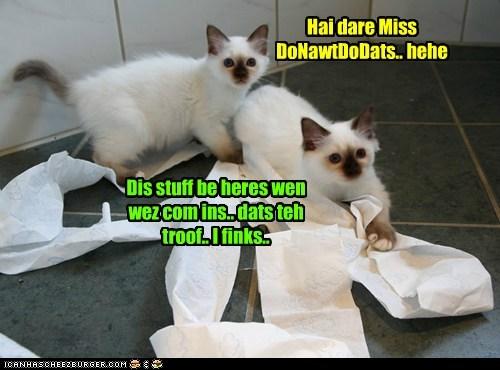 Hai dare Miss DoNawtDoDats.. hehe Dis stuff be heres wen wez com ins.. dats teh troof.. I finks..