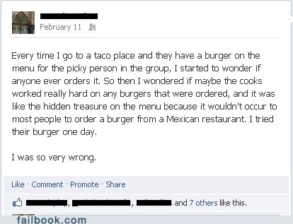 burger,pizza,mexican restaurant,fast food,failbook,g rated