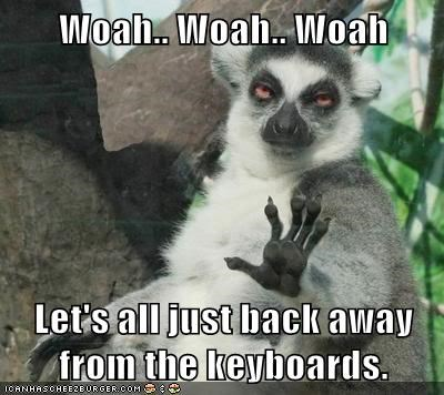 lemurs back away whoa keyboards stop