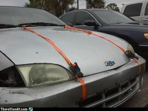 car hood,hood,bungee cord