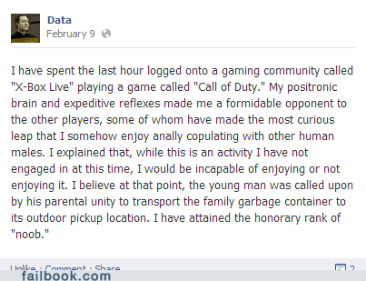 noob,call of duty,xbox live,data,Star Trek,failbook,g rated