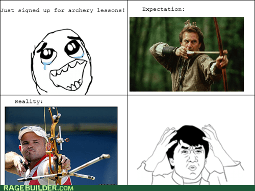 bow and arrow,bow,archery,crossbow,expectation vs reality