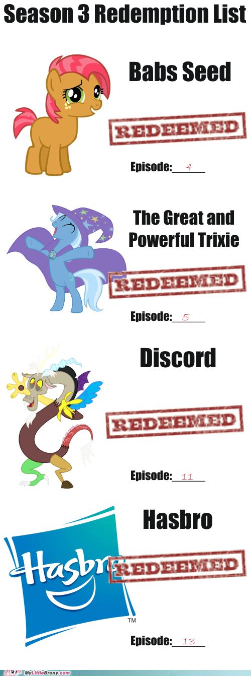 discord,Hasbro,season 3,redemption,trixie,babas seed