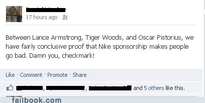 oscar pistorius Lance Armstrong nike Tiger Woods failbook - 7069392128