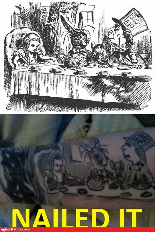 alice in wonderland,arm tattoos,Nailed It