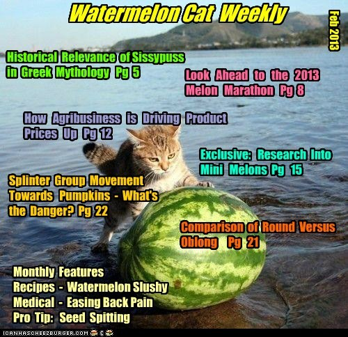 Watermelon Cat Weekly Feb 2013 Historical Relevance of Sissypuss in Greek Mythology Pg 5 Look Ahead to the 2013 Melon Marathon Pg 8 How Agribusiness is Driving Product Prices Up Pg 12 Exclusive: Research Into Mini Melons Pg 15 Monthly Features Recipes - Watermelon Slushy Medical - Easing Back Pain Pro Tip: Seed Spitting Splinter Group Movement Towards Pumpkins - What's the Danger? Pg 22 Comparison of Round Versus Oblong Pg
