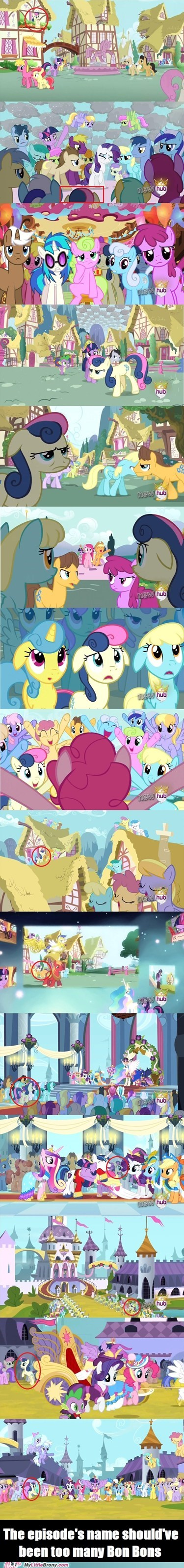 found her,background ponies,bon bon