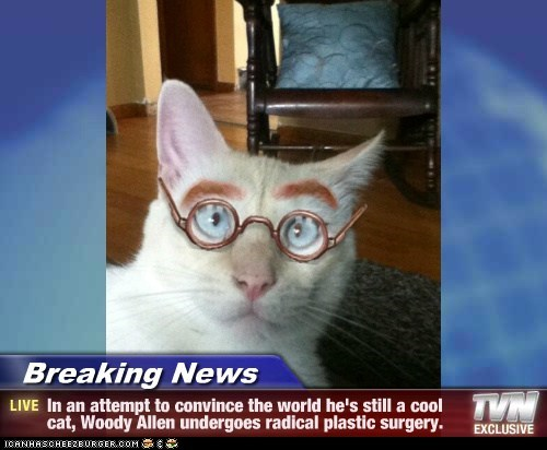 Breaking News - In an attempt to convince the world he's still a cool cat, Woody Allen undergoes radical plastic surgery.