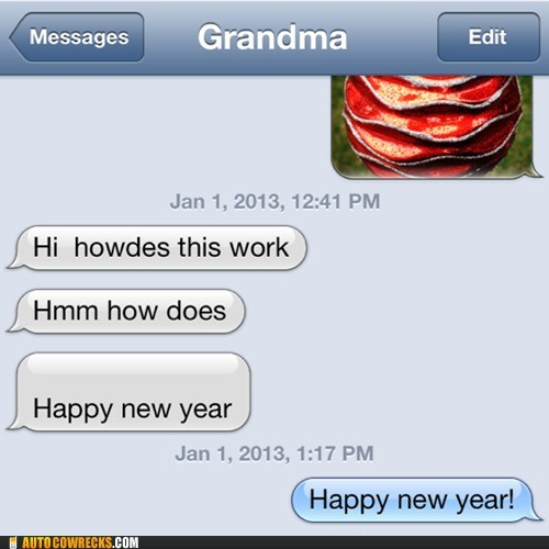 iPhones,grandma,happy new year,g rated,AutocoWrecks