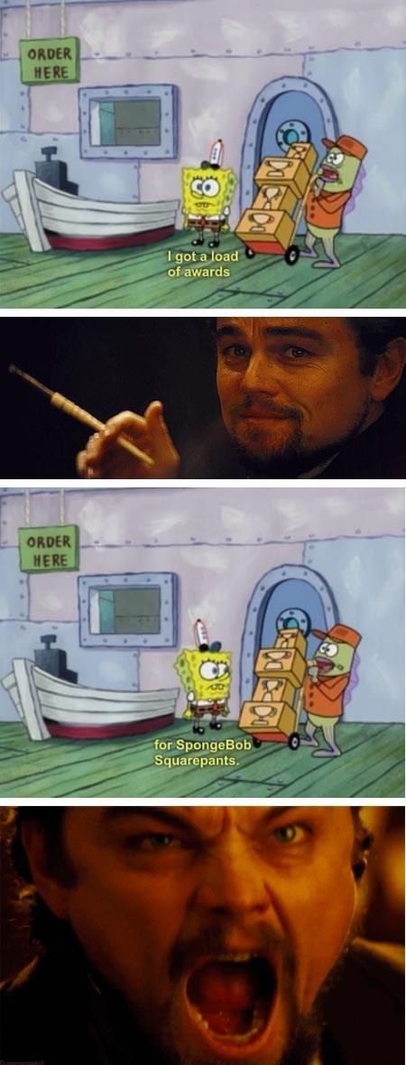 leonardo dicaprio,SpongeBob SquarePants,django unchained