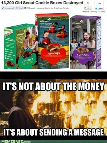 girl scout cookies,the joker,sending a message
