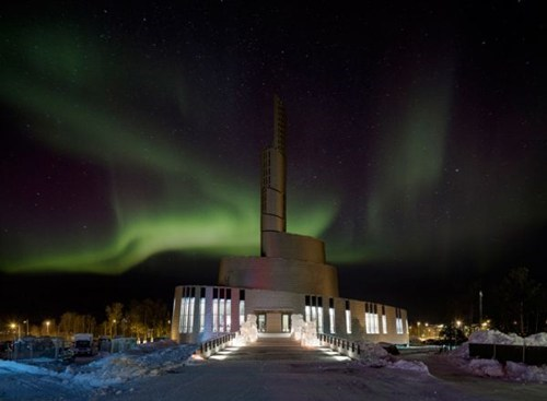 aurora borealis,northern lights,architecture,design,church