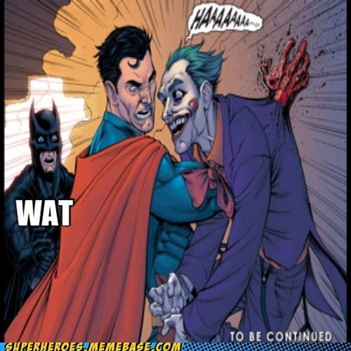 ouch,joker,batman,superman