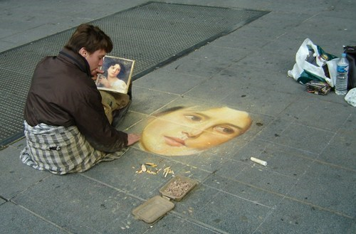 Street Art art design portrait chalk - 7075103744