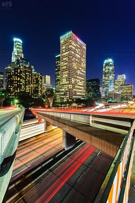 los angeles cityscape time lapse pretty colors night