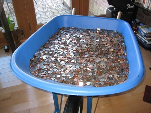 wheelbarrow,collection,frugal,spare change,money