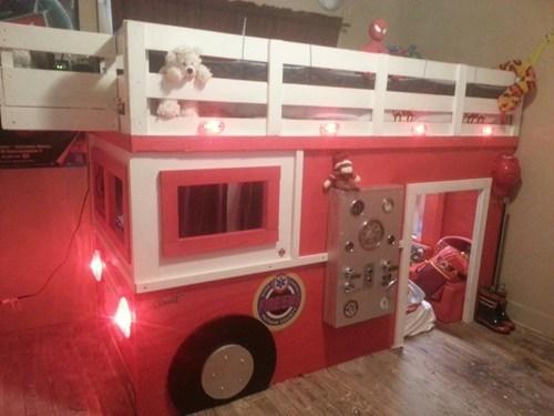 fire truck bunk bed design cute - 7075554304