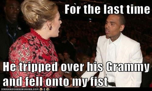 adele,excuses,grammy,chris brown,misunderstanding,fell