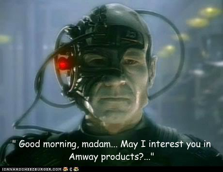 """ Good morning, madam... May I interest you in Amway products?..."""