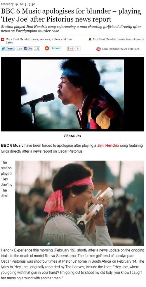 oscar pistorius,bbc,jimi hendrix,headlines,Music FAILS