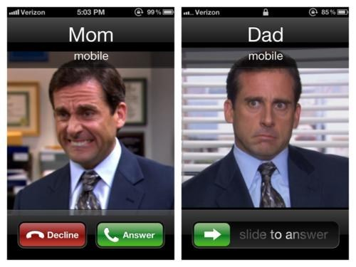 dad,Michael Scott,answering the phone,mom