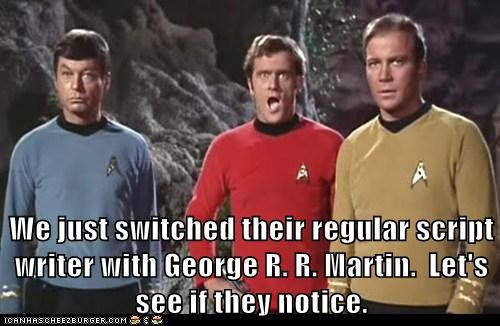 Captain Kirk McCoy red shirt Death George RR Martin DeForest Kelley Star Trek William Shatner - 7077141504