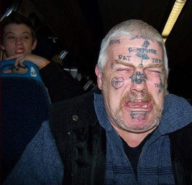 old man,face tattoos,roller coaster