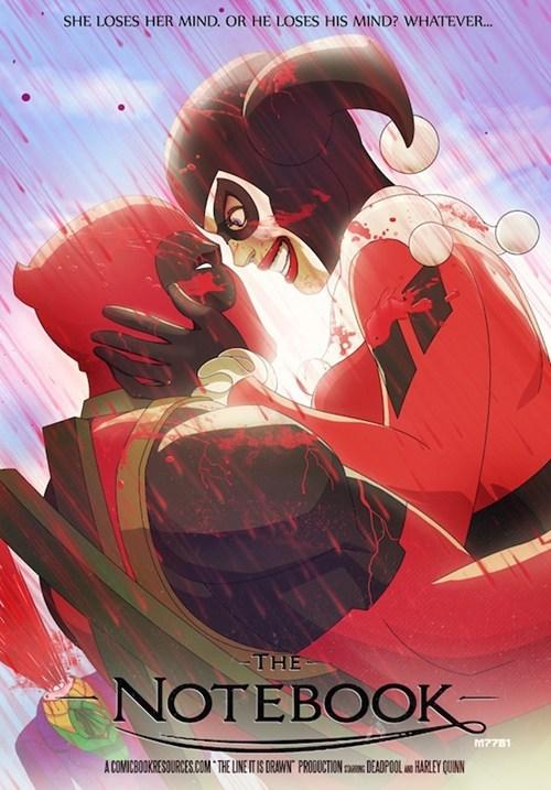 crossover deadpool the joker Fan Art x men the notebook batman Harley Quinn