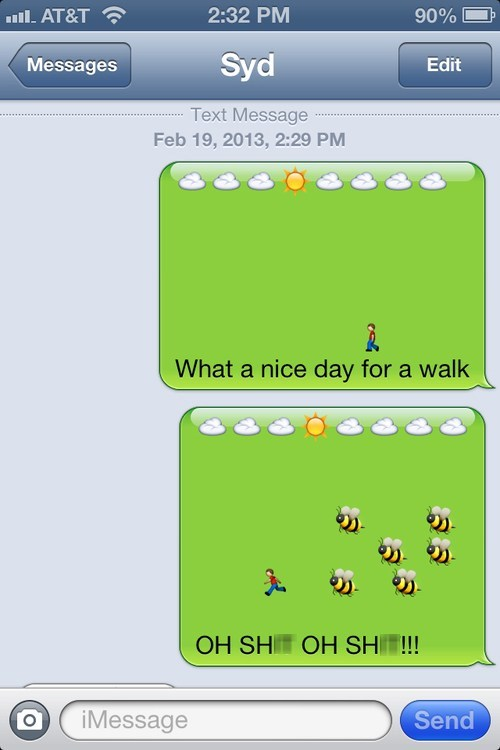 iPhones,bees,walk,emoticons