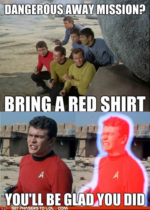 Captain Kirk,red shirts,away mission,Star Trek,William Shatner
