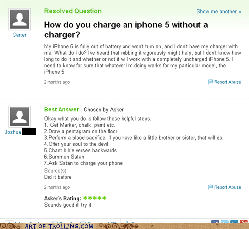 satan,yahoo answers,iphone