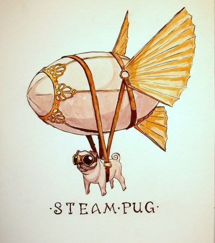 dogs steam punk original art pugs - 7078224640