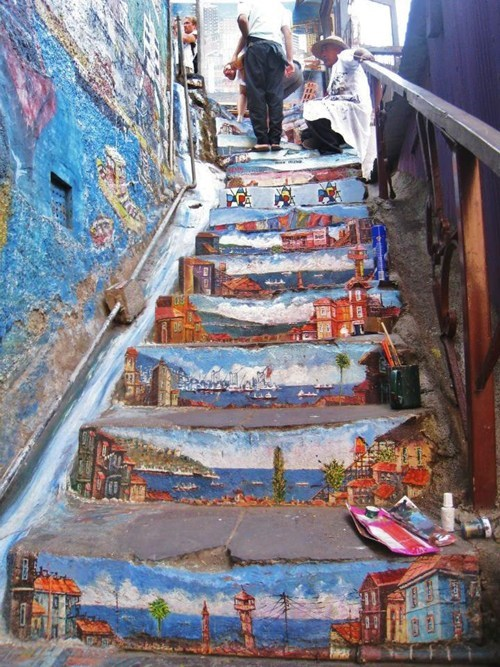 Street Art stairs graffiti hacked irl - 7078386176