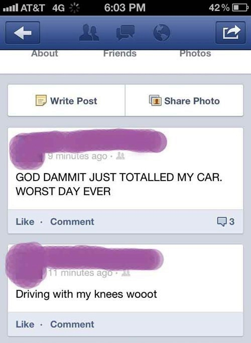 darwin awards,texting while driving,driving,car accident,failbook