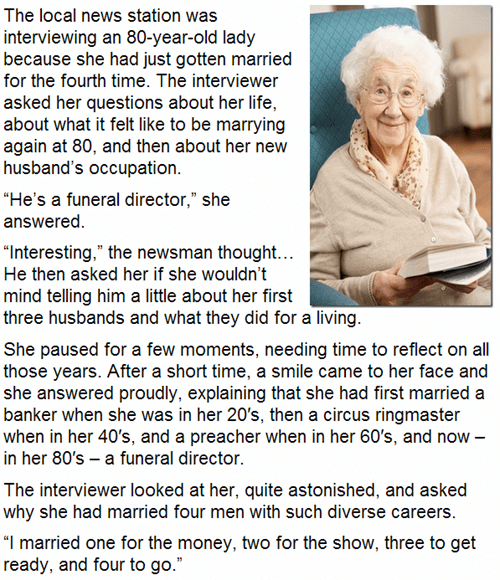 old ladies,marriages,anectdotes